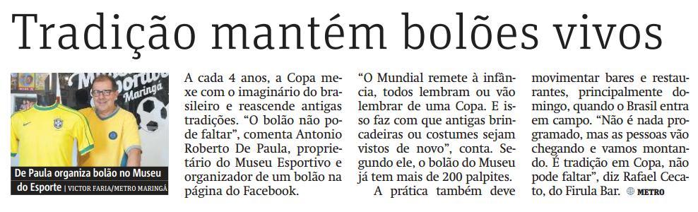 Museu Esportivo de Maringá no Jornal Metro - edição 14/06/2018