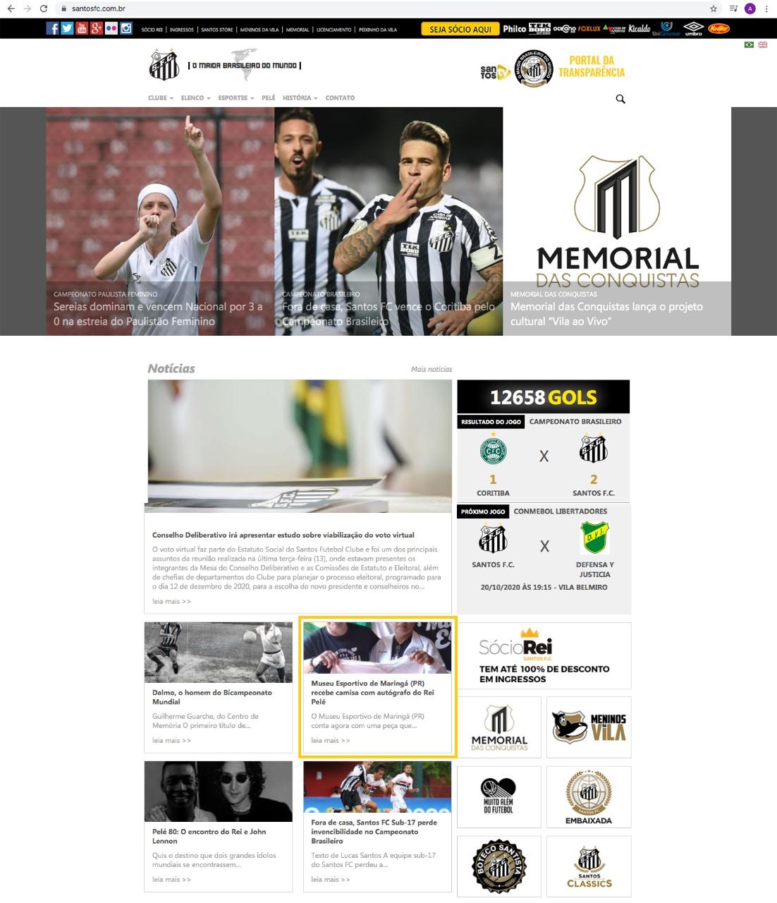 Site do Santos Futebol Clube divulga a doação da camisa autografada do Rei Pelé ao Museu Esportivo de Maringá