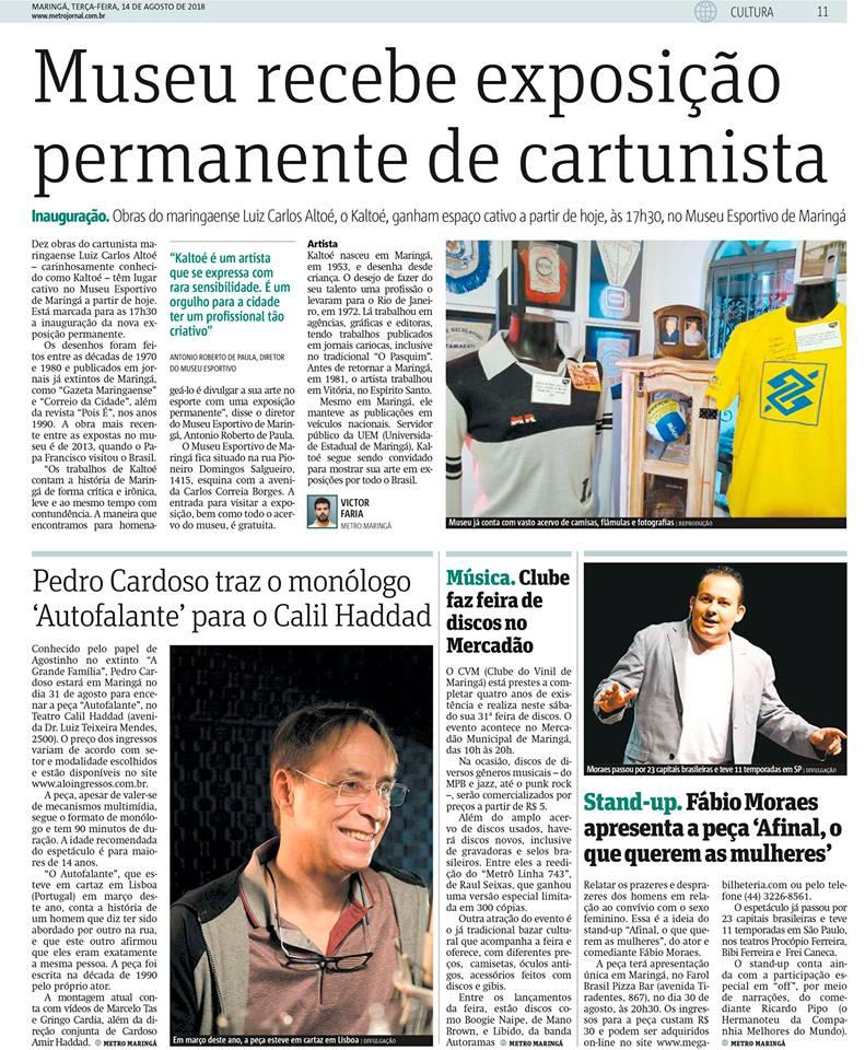 """Museu Esportivo de Maringá no jornal Metro, edição do dia 14 de agosto. Exposição """"Kaltoé no Esporte""""."""