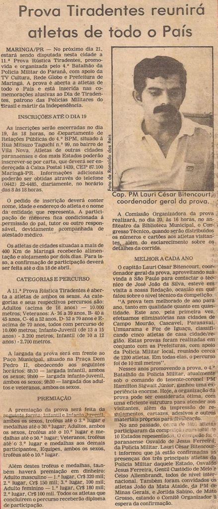 Jornal Gazeta Esportiva, 1985 - Reportagem com Lauri César Bittencourt sobre a 11ª Prova Rústica Tiradentes